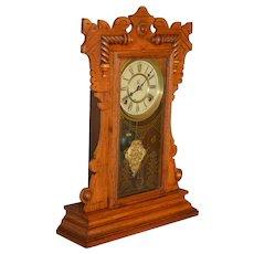 Victorian Carved Oak Mantle Clock – Waterbury