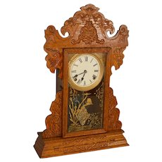 Oak Carved Mantle Clock by Sessions