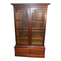 Victorian Step Back Walnut Bookcase-Civil War Era