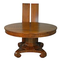 Oak 54 Inch Round Banquet Empire Table - Refinished