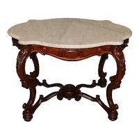 Victorian Rosewood Oversize Marble Parlor Table