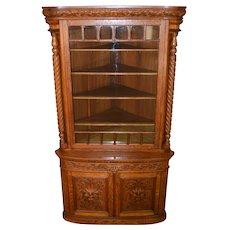 Victorian Oak Barley Twist Carved Corner Cabinet of Horner Quality