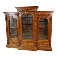 Victorian Burl Walnut Carved Triple Door Bookcase