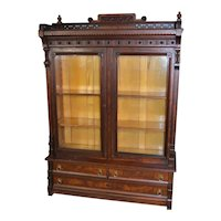 Victorian Walnut Step Back Bookcase with Gallery