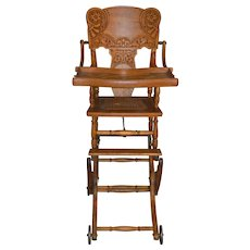 Children's Heavily Carved Up and Down High Chair Stroller Oak