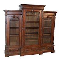 Victorian Burl Walnut Triple Door Bookcase