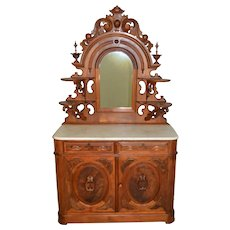 Victorian Burl Walnut Marble Top Carved Sideboard