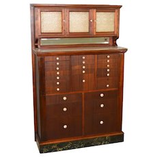 Mahogany Dentist Dental Cabinet Frosted Glass