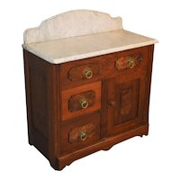 Victorian Burl Walnut Marble Top Commode