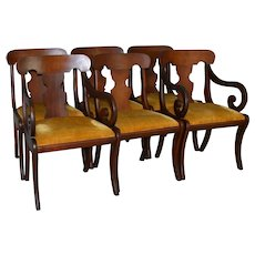 Set of 6 Mahogany Empire Style Dining Chairs – Twin Arms