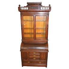 Victorian Burl Walnut Heavily Carved Unusual Cylinder Secretary Desk