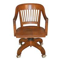 Oak Barrel Back Swivel Lawyers Bankers Office Chair