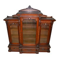 Victorian Burl Walnut Triple Door Carved Bookcase