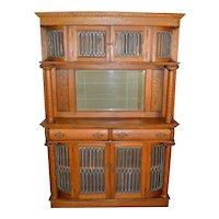 Oak Leaded Mantle Display Cabinet