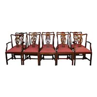 Set of 10 Solid Mahogany Chippendale Dining Chairs