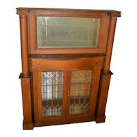 Victorian Oak Mantle Cabinet with Leaded Glass & Pillars