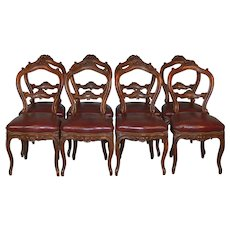 Set of 8 French Carved Victorian Dining Chairs with Leather Seats