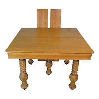Victorian Oak Barley Twist Dining Table – 2 Leaves