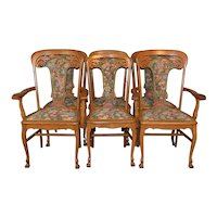 Set of 6 Heavily Carved Upholstered Oak Dining Chairs