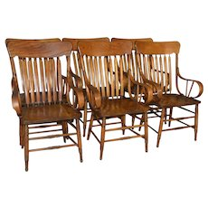 Set of 6 Oak Rolled Arm Chairs – Rare