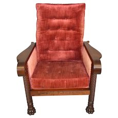 Unusual Mahogany Claw Foot Morris Chair