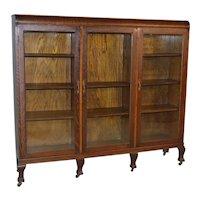 Victorian Oak Claw Foot Three Door Bookcase