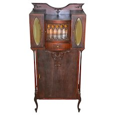Victorian Mahogany Fancy Carved Music Sheet Cabinet