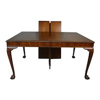 Chippendale Ball and Claw Dining Table with Rope Carved Edges