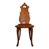 Oak Carved Ladies Vanity Desk Chair