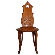 Oak Carved Ladies Vanity Desk Chair