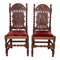 Pair of Oak Carved with Men Chairs