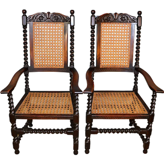 Pair of Barley Twist Throne Chairs – Victorian
