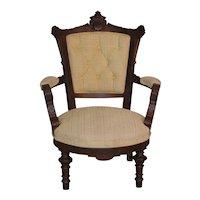 Eastlake Walnut Carved Arm Chair