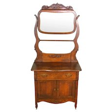 Victorian Carved Oak Bevel Glass Mirror Hotel Commode