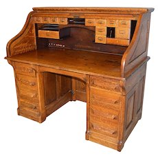 Oak Raised Panel 54 Inch Rotary Roll Top Desk