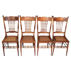 Set of 4 Oak Press Back Dining Chairs – Early 1900's