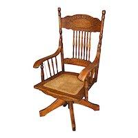 Oak Larkin Press Back Swivel Tilt Office Chair