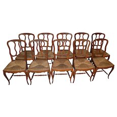 Set of 10 French Carved Oak Dining Chairs – Rare