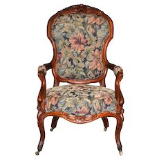 Victorian Gentleman's  Carved Arm Chair – Floral Design