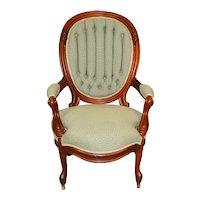 Victorian Gentleman's Finger Carved Open Arm Chair