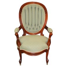 Victorian Gentleman's Finger Carved Open Arm Chair