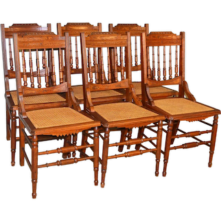 Set of 6 Victorian Burl Walnut Dining Chairs