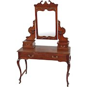 Mahogany Victorian Carved Bevel Glass Ladies Vanity
