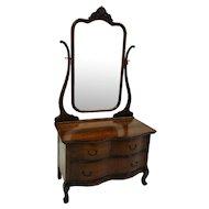 Oak Ladies Princess Dresser with Tall Bevel Glass Mirror