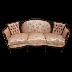 French Victorian Shapely Carved Sofa
