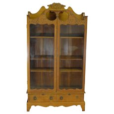 Carved Oak Two Door Drawer Fancy Bookcase