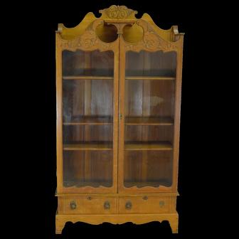 Carved Oak Two Door Drawer Fancy Bookcase