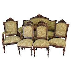 7pc Burl Walnut Victorian Carved Parlor Set