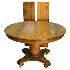 Antique Round Oak Empire Dining Table