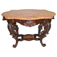 Large Carved Victorian Marble Top Center Table